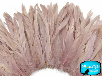 1/2 Yard - Taupe Strung Natural Bleach And Dyed Coque Tails Wholesale Feathers (Bulk)