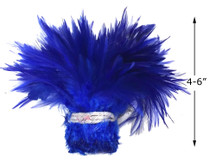 """1 Yard – 4-6"""" Dyed Royal Blue Strung Chinese Rooster Saddle Wholesale Feathers (Bulk)"""
