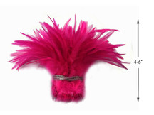 1 Yard - Hot Pink Strung Chinese Rooster Saddle Wholesale Feathers (Bulk)