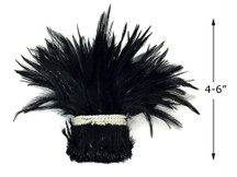 """1 Yard - 4-6"""" Black Strung Chinese Rooster Saddle Wholesale Feathers (Bulk)"""