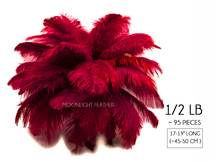 "1/2 Lb - 17-19"" Burgundy Ostrich Large Drab Wholesale Feathers (Bulk)"