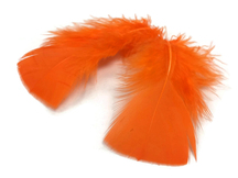 1 Pack - Orange Dyed Turkey T-Base triangle Body Plumage Feathers 0.50 Oz.