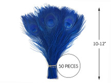 """50 Pieces – Royal Blue Bleached & Dyed Peacock Tail Eye Wholesale Feathers (Bulk) 10-12"""" Long"""