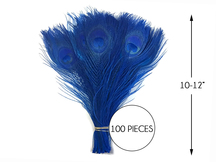 """100 Pieces – Royal Blue Bleached & Dyed Peacock Tail Eye Wholesale Feathers (Bulk) 10-12"""" Long"""