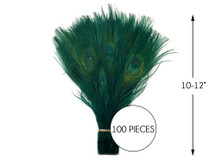 """100 Pieces – Hunter Green Bleached & Dyed Peacock Tail Eye Wholesale Feathers (Bulk) 10-12"""" Long"""