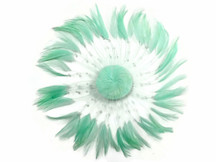 1 Piece - Mint Green Whole Beaded Pinwheel Stripped Rooster Hackle Feather Plates