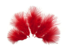 1/4 Lb - Red Turkey Marabou Short Down Fluffy Loose Wholesale Feathers (Bulk)