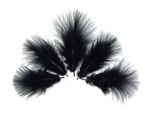 1/4 Lb - Black Turkey Marabou Short Down Fluffy Loose Wholesale Feathers (Bulk)