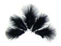 1/4 Lb - Black Turkey Marabou Short Down Fluffy Loose Wholesale Feathers (Bulk)