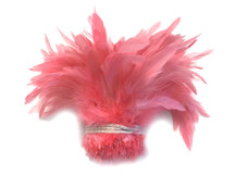1 Yard - Coral Bleached and Dyed Strung Rooster Schlappen Wholesale Feathers (Bulk)