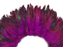 Bright deep pink iridescent rooster feathers for crafts and costumes