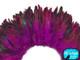 1 Yard - Magenta Half Bronze Strung Rooster Schlappen Wholesale Feathers (Bulk)