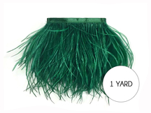 1 Yard - Hunter Green Ostrich Fringe Trim Wholesale Feather (Bulk)