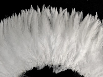 "6-7"" Natural White Strung Chinese Rooster Saddle Feathers (3864)"