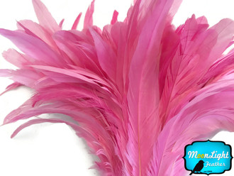 1/2 Yard - Candy Pink Strung Natural Bleach And Dyed Coque Tails Wholesale Feathers