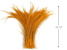 50 Pieces - Golden Yellow Bleached & Dyed Peacock Swords Cut Wholesale Feathers (Bulk)