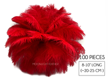 "100 Pieces - 8-10"" Red Ostrich Dyed Drab Body Wholesale Feathers (Bulk)"