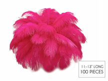 """100 Pieces - 11-13"""" Hot Pink Ostrich Drabs Wholesale Body Feathers (Bulk)"""