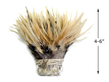 """1 Yard - 4-6"""" Natural Cream Strung Chinese Rooster Saddle Wholesale Feathers (Bulk)"""
