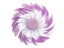 1 Piece - Lavender Whole Beaded Pinwheel Stripped Rooster Hackle Feather Plates