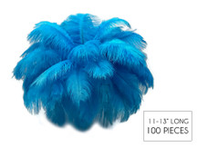 "100 Pieces - 11-13"" Turquoise Blue Ostrich Drabs Wholesale Body Feathers (Bulk)"