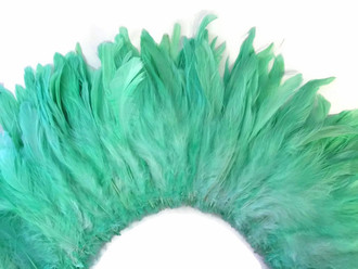 Tiffany blue strip of feathers for costumes, weddings, decoration, sewing.
