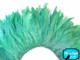 1 Yard - Mint Green Dyed Strung Rooster Schlappen Wholesale Feathers (Bulk)