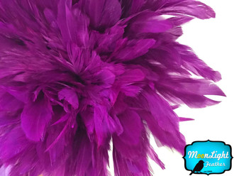 1 Yard - Purple Dyed Strung Rooster Schlappen Wholesale Feathers (Bulk)