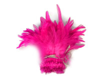 Neon pink soft short strip of feathers for decoration, crafts, and weddings.