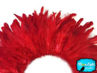 1 Yard - Red Dyed Strung Rooster Schlappen Wholesale Feathers (Bulk)