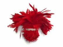 Bright Red Strip of fluffy soft feathers for crafts, sewing, costumes, decoration, weddings.