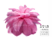 "1/2 Lb - 17-19"" Candy Pink Ostrich Large Drab Wholesale Feathers (Bulk) Swa"
