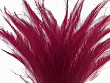 Maroon Deep Red Peacock Cut Shaped Feathers Wispy