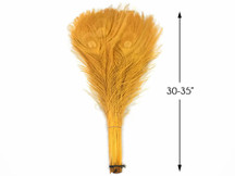 """100 Pieces - 30-35"""" Golden Yellow Bleached & Dyed Peacock Tail Eye Wholesale Feathers (Bulk)"""