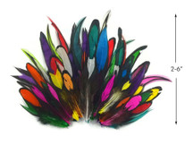 1 Pack - Imperfect Colorful Mix Laced Hen Rooster Cape Saddle Feather 0.05 Oz.
