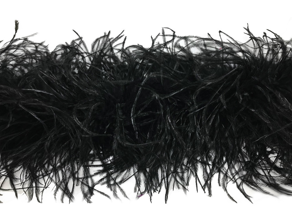 1 Piece Black Ostrich Feather Boa 3 Ply Moonlight Feather