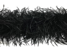 2 Yards - Black 3 Ply Ostrich Medium Weight Fluffy Feather Boa