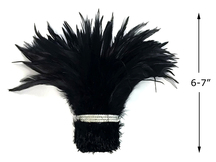 """1 Yard - 6-7"""" Black Strung Chinese Rooster Saddle Wholesale Feathers (Bulk)"""