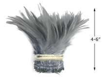 """1 Yard – 4-6"""" Dyed Silver Gray Strung Chinese Rooster Saddle Wholesale Feathers (Bulk)"""