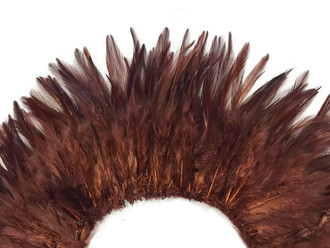 4 Inch Strip - Dyed Brown Strung Chinese Rooster Saddle Feathers
