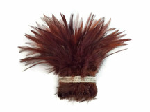 Dyed Brown Strung Chinese Rooster Saddle Wholesale Feathers