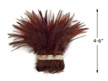 """1 Yard – 4-6"""" Dyed Brown Strung Chinese Rooster Saddle Wholesale Feathers (Bulk)"""