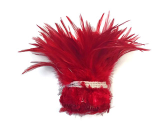 Red Strung Chinese Rooster Saddle Wholesale Feathers (Bulk)