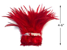 """1 Yard – 4-6"""" Dyed Red Strung Chinese Rooster Saddle Wholesale Feathers (Bulk)"""