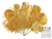 "1/2 Lb - 12-16"" Antique Gold Ostrich Tail Wholesale Fancy Feathers (Bulk)"