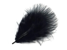 1 Pack - Black Turkey Marabou Short Down Fluff Loose Feathers 0.10 Oz.