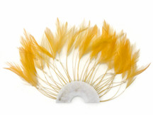 1 Piece - Golden Yellow Half Beaded Pinwheel Stripped Rooster Hackle Feather Pads