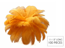 "100 Pieces - 11-13"" Golden Yellow Ostrich Drabs Wholesale Body Feathers (Bulk)"