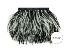 1 Yard - Black & White Ostrich Fringe Trim Wholesale Feather (Bulk)