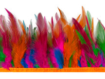 1 Yard - Multicolor Summer Fun Rooster Neck Hackle Saddle Feather Wholesale Trim